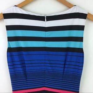 Cache Dresses - Cache Striped Sheath Dress Multi Color Sleeveless